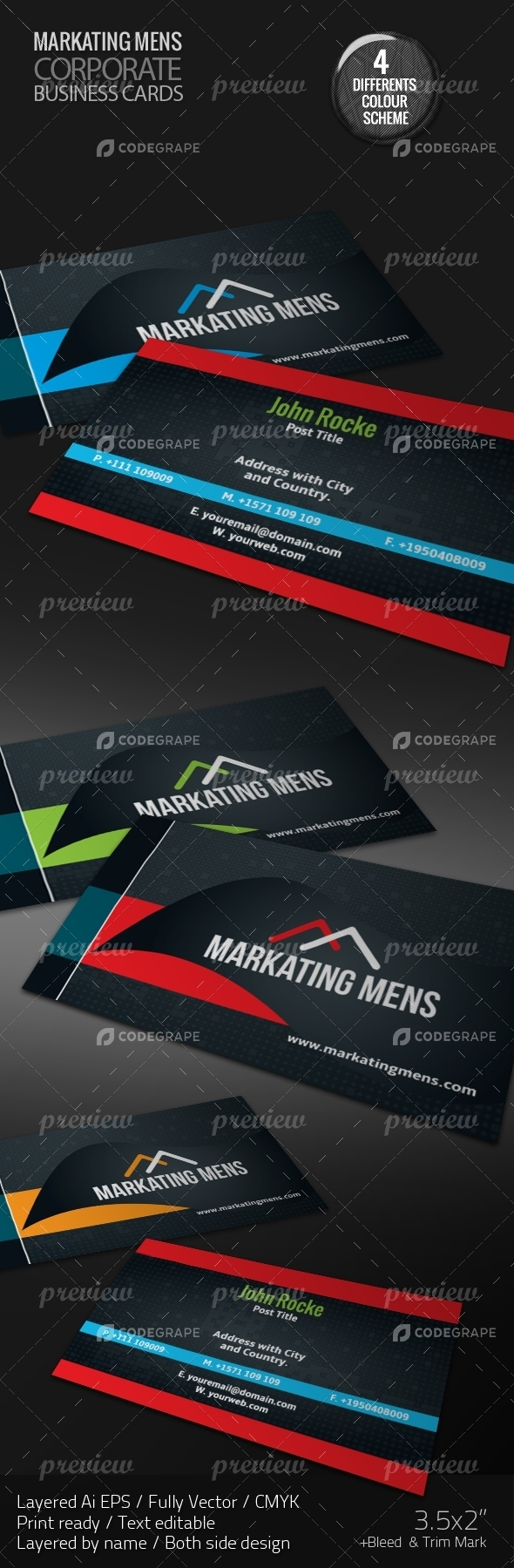 MARKATING MENS Corporate Business Cards