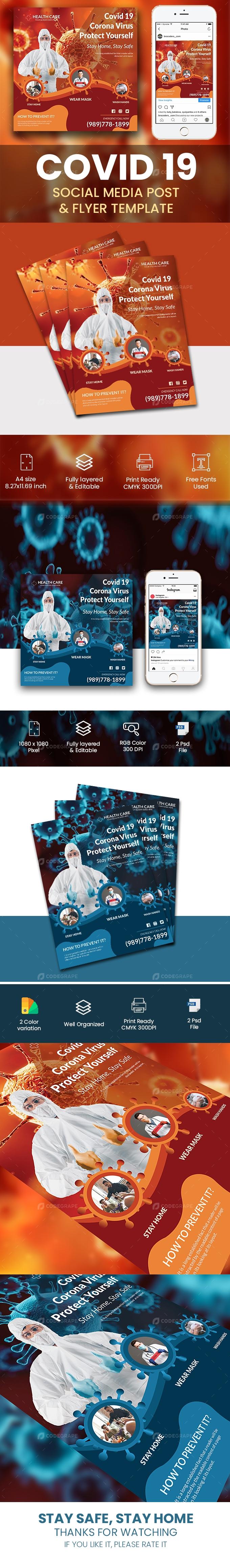 Coronavirus Flyer and Social media pack