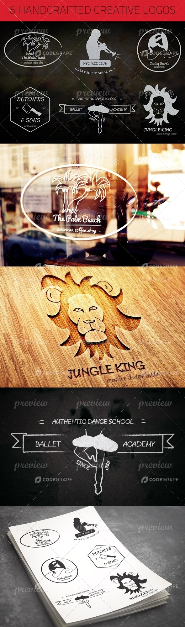 6 Handcrafted Creative Logos