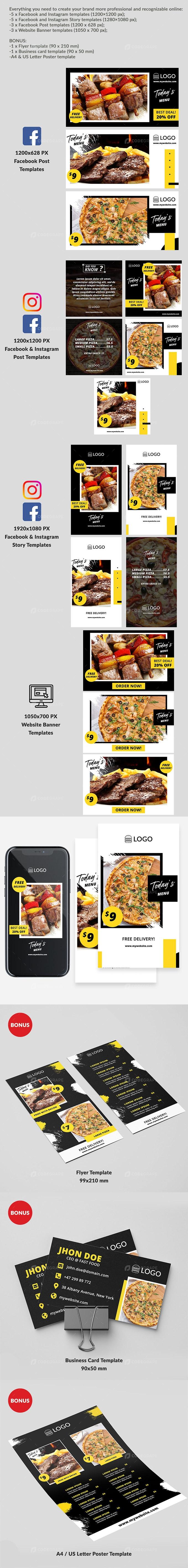 Fast Food & Restaurant Promo Kit Templates