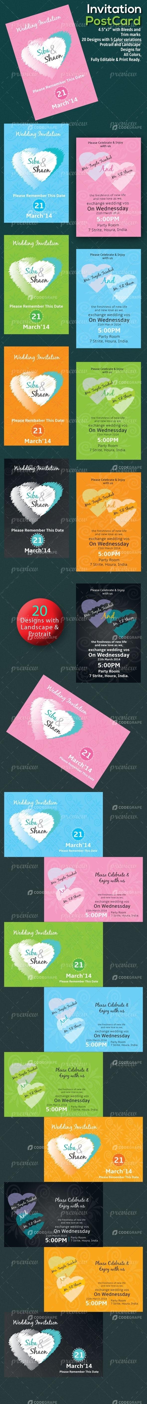 Wedding Invitation Postcard Sets