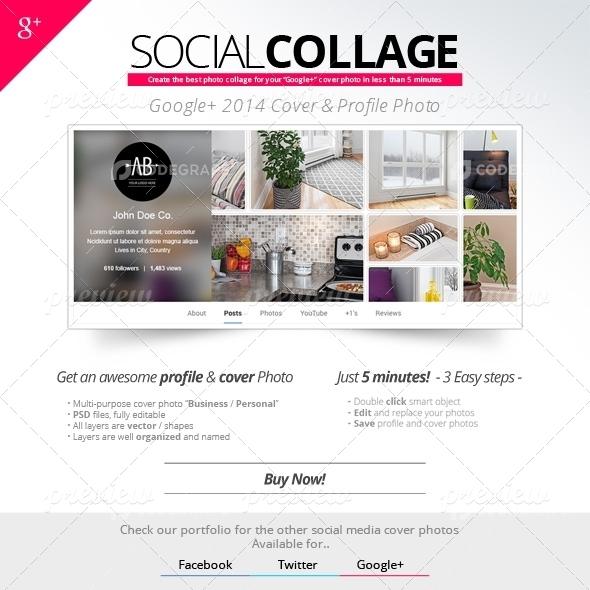 Social Collage | Cover & Profile | Google+ 2014