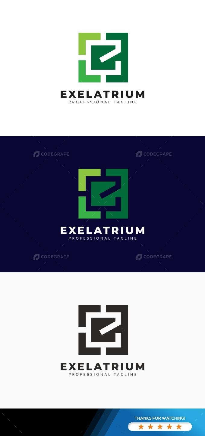 Exelatrium E Letter Square Logo