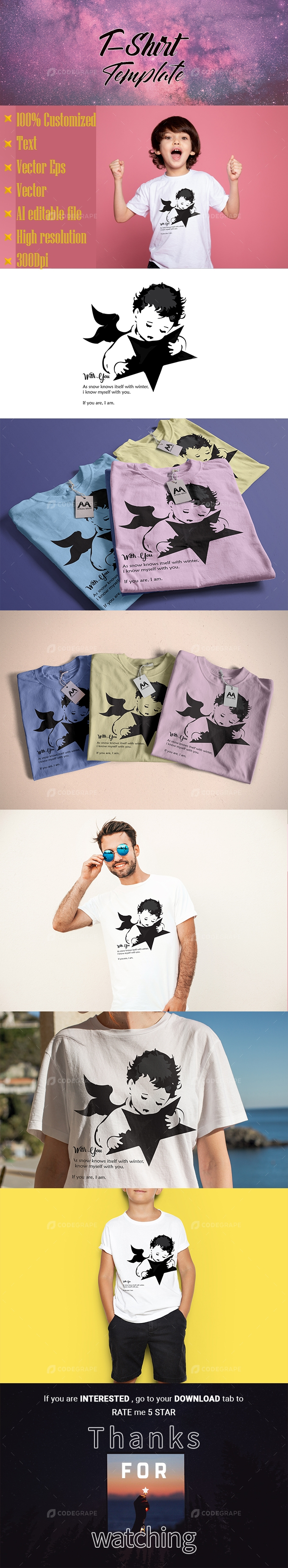 Child with Star T-Shirt Template