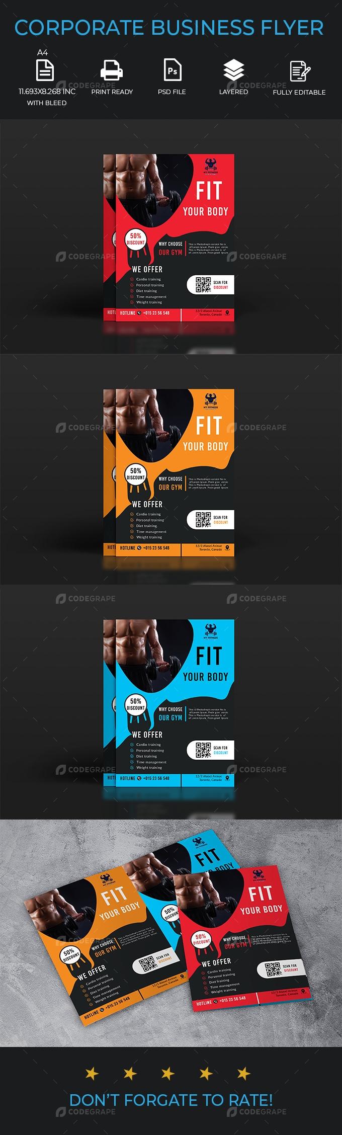 Corporate gym flyer design