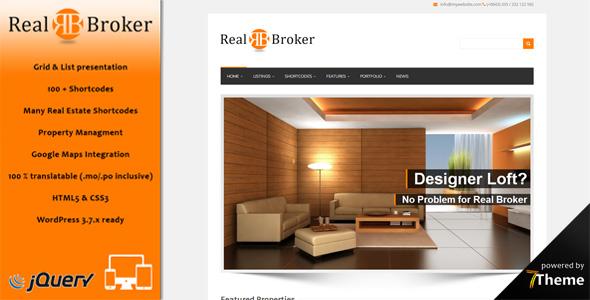 Realbroker  - a responsive WordPress Real Estate Theme