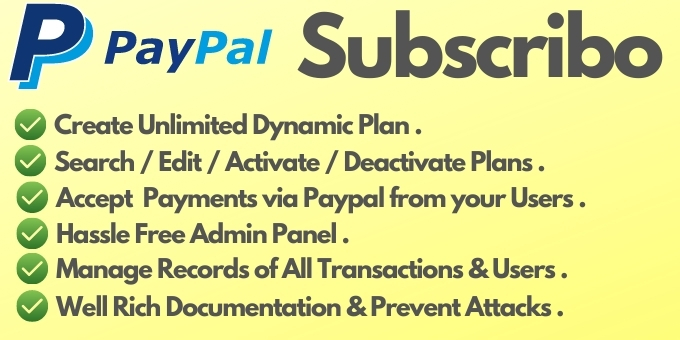 Subscribo Create Plan and Accept Payment via Paypal