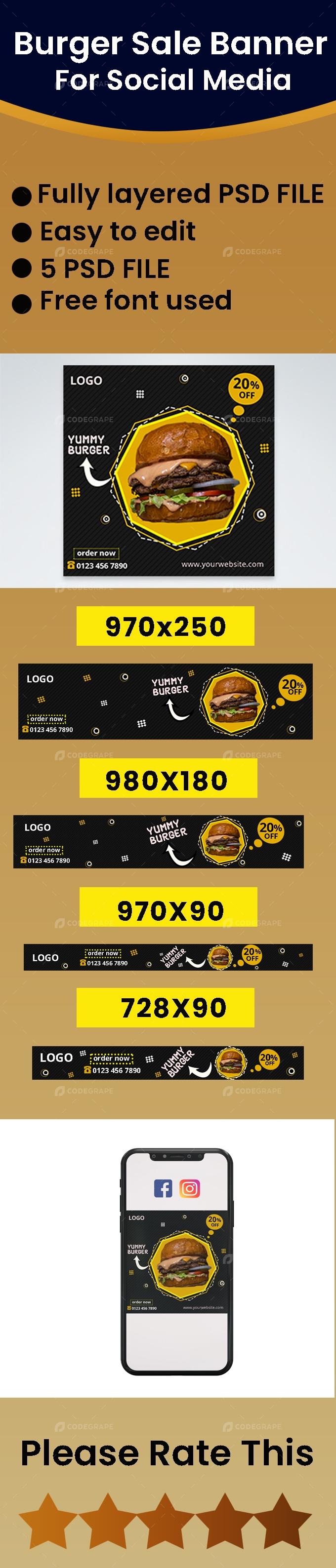 Burger Sale Banner For Social Media