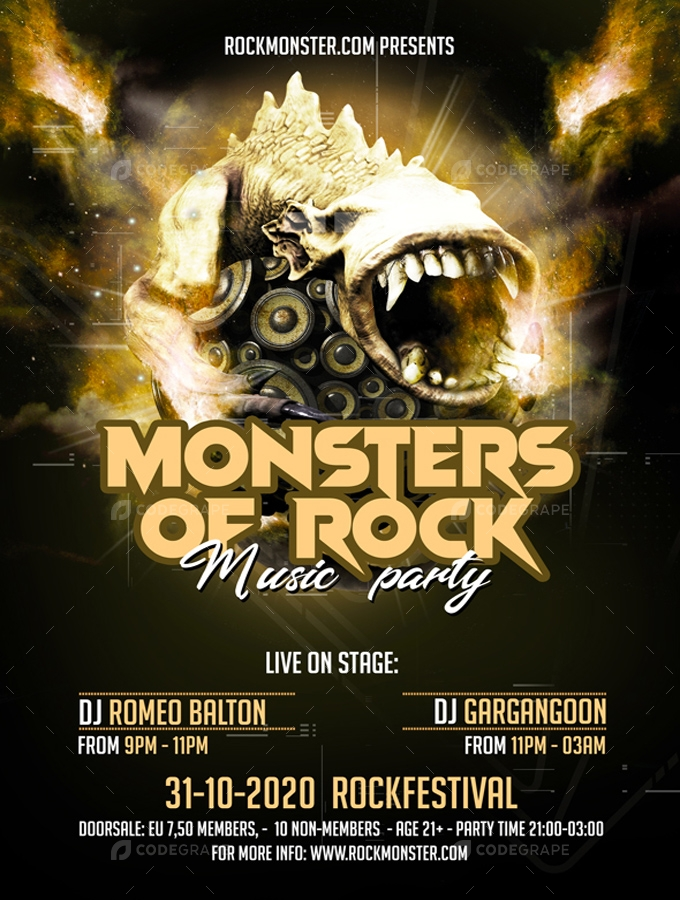 Monsters of Rock Party Flyer