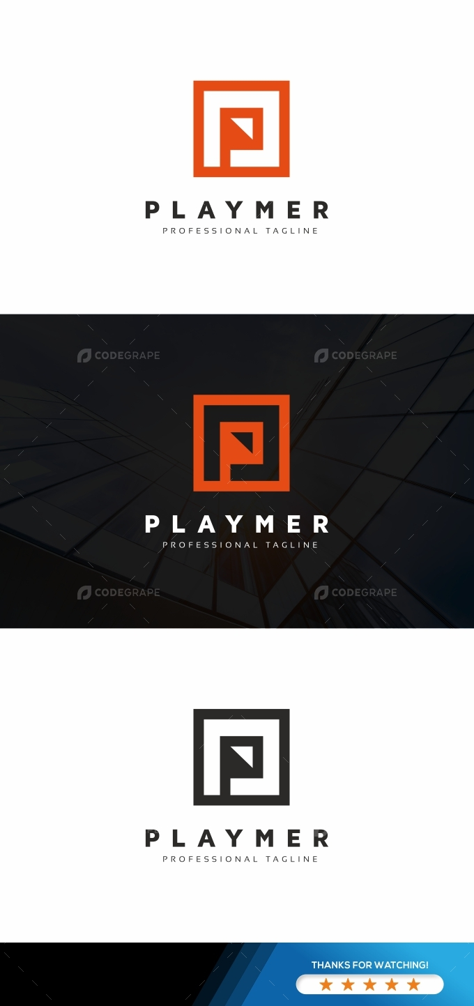 Play P Letter Logo