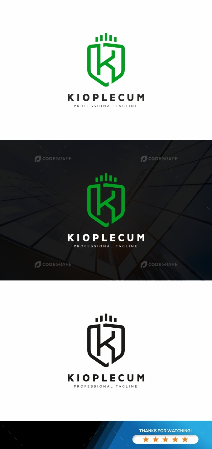 K Letter Shield Logo