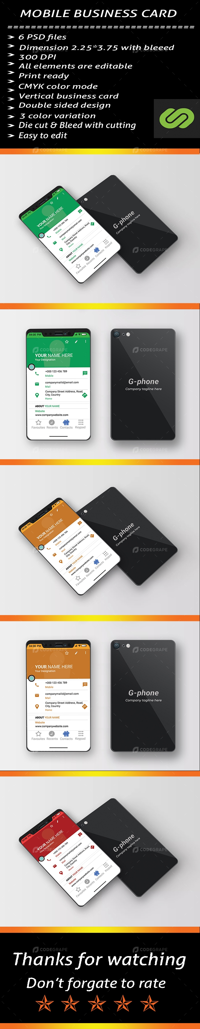 Mobile Phone Business Card Template