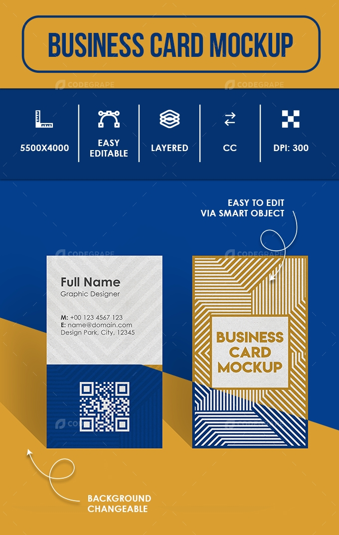 Business Card Mockup - Vertical