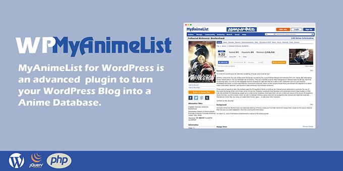 WP Myanimelist - Anime & Manga Grabber for Wordpress