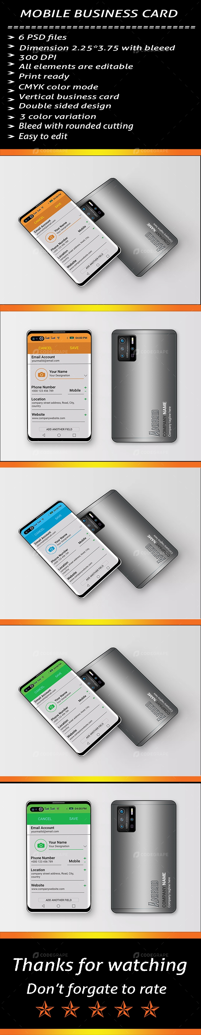 Mobile Phone Business Card Template 02