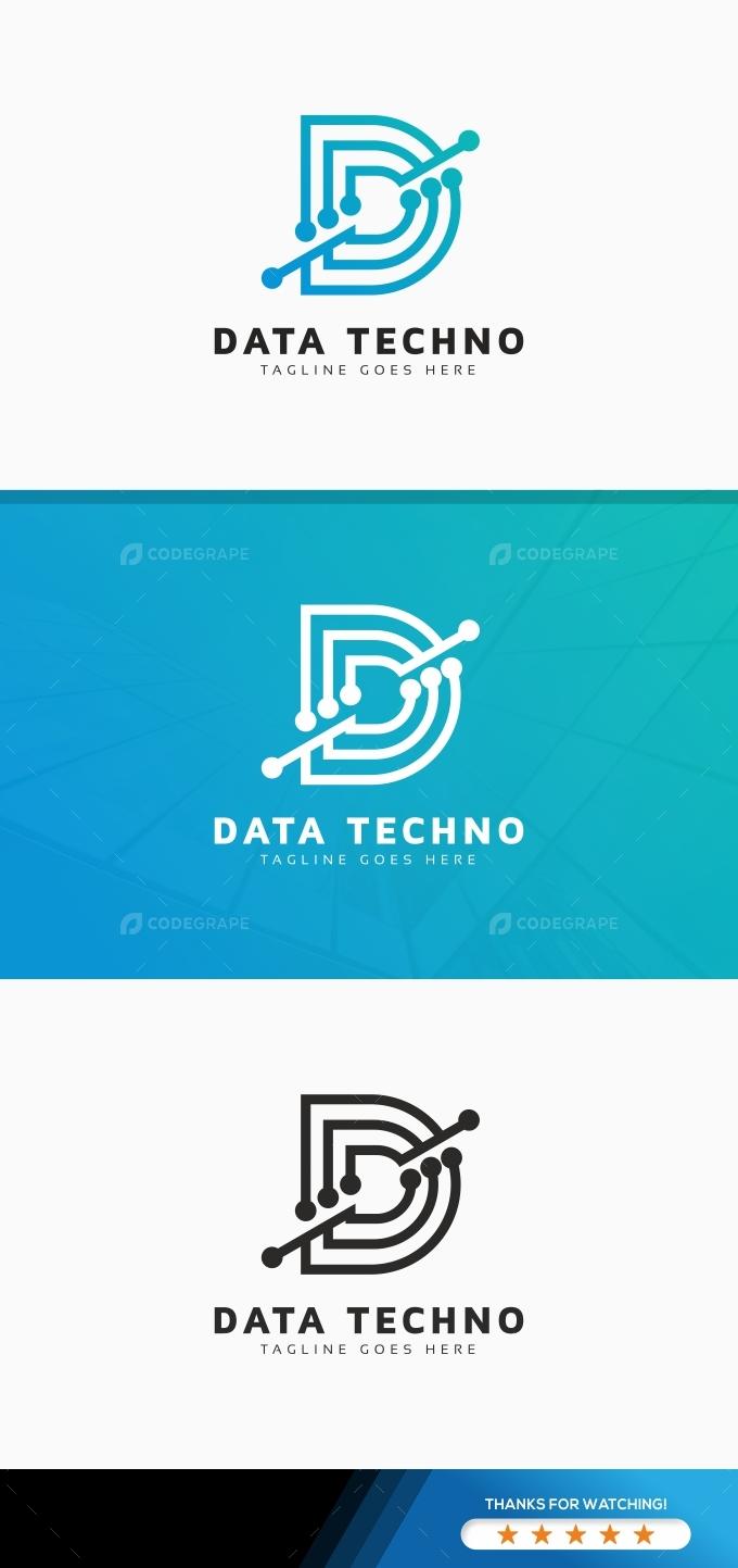 Data Techno D Letter Logo