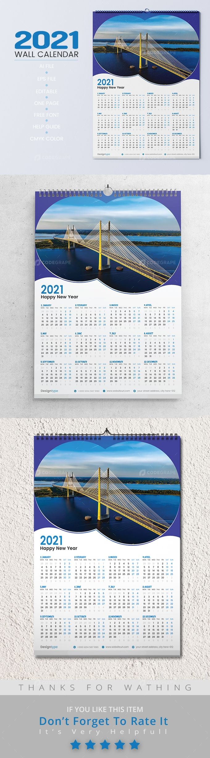 One Page Wall Calendar 2021