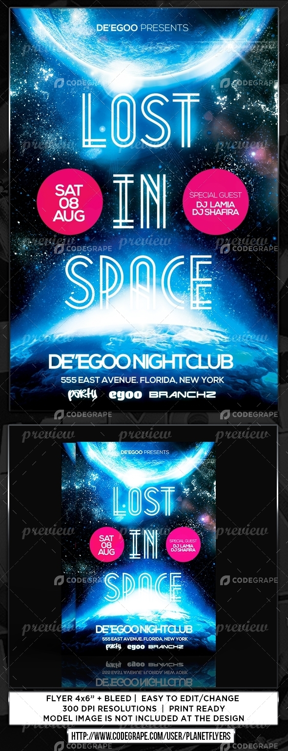 Lost In Space Party Flyer