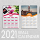 Two Style One Page Wall Calendar Template 2021