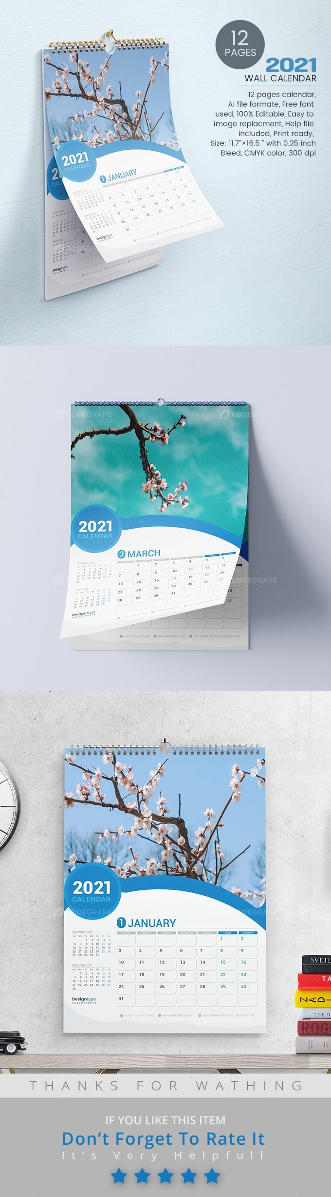 Twelve Pages Wall Calendar Template 2021