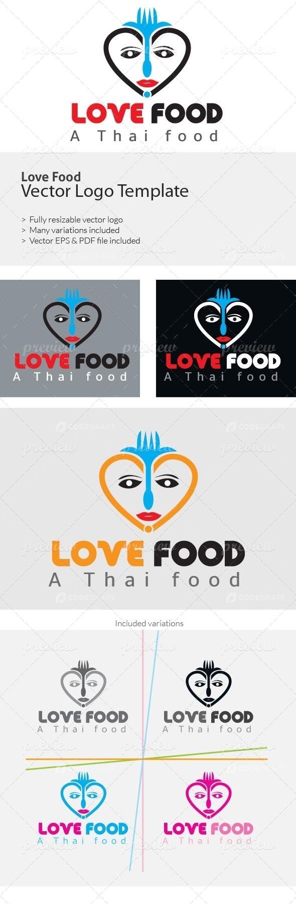 Love Food Logo Templates