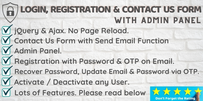 Login SignUp And Contact Us Form with Admin Panel