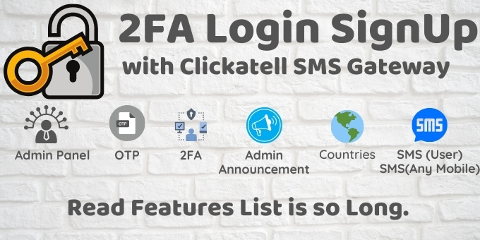 2FA Login SignUp Via Clickatell SMS And Admin Panel