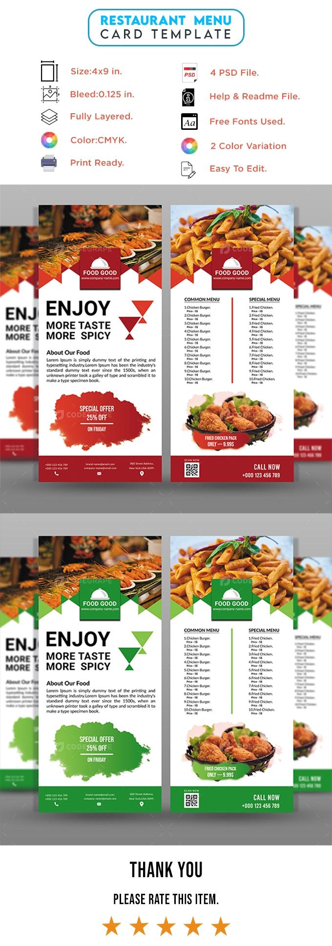 Restaurant Food List Rack Card