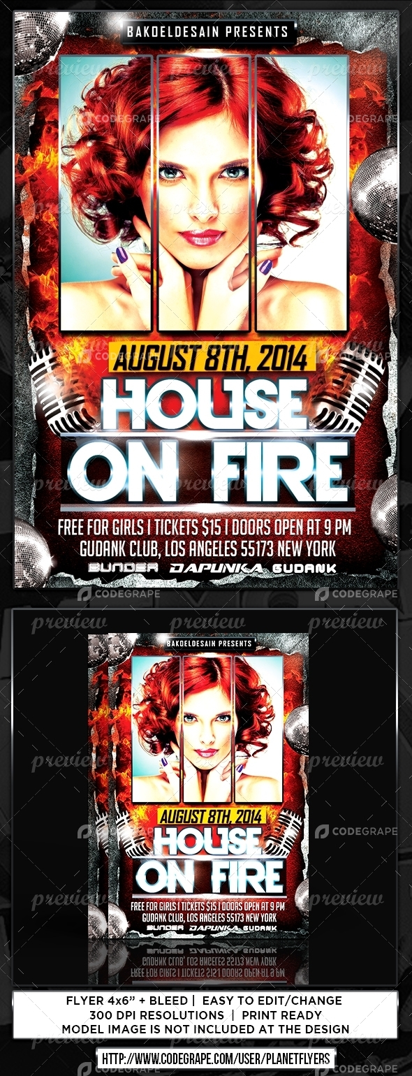 House On Fire Party Flyer
