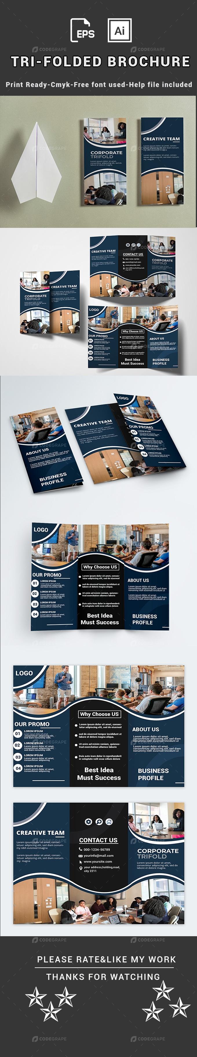 Corporate Tri-Folded  Brochure Template