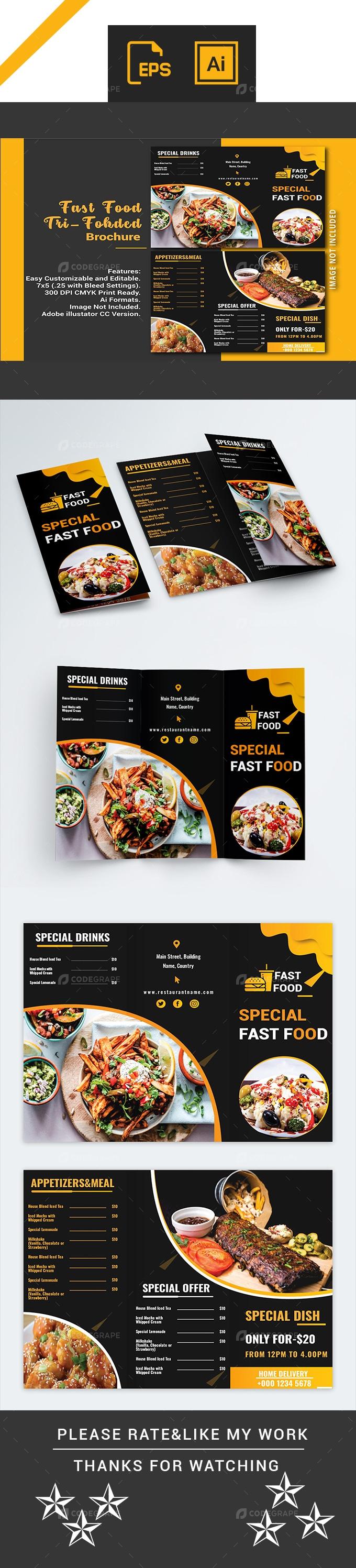 Fast Food Tri-Folded Brochure