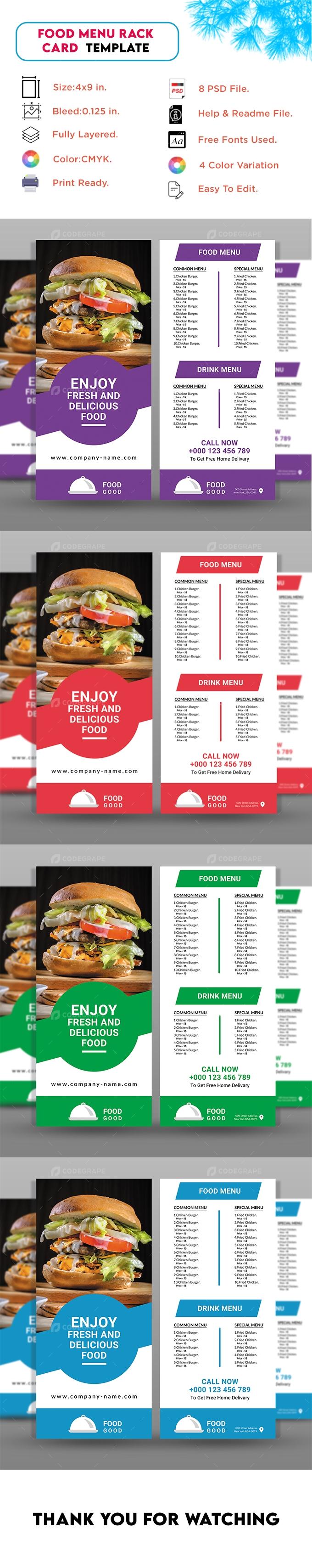 Restaurant Food Menu Rack Card Template