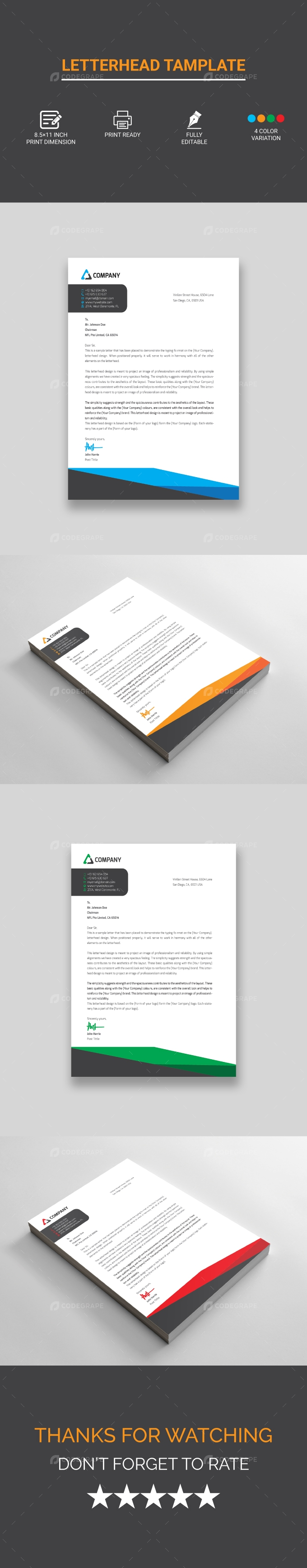 Corporate Letterhead Design Vector