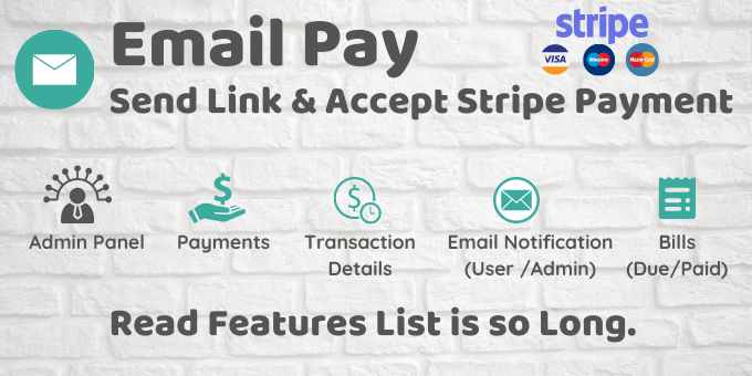 EmailPay - Send Link And Accept Stripe Payment with Admin Panel