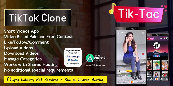 TikTac - Short Video App with Admin Panel