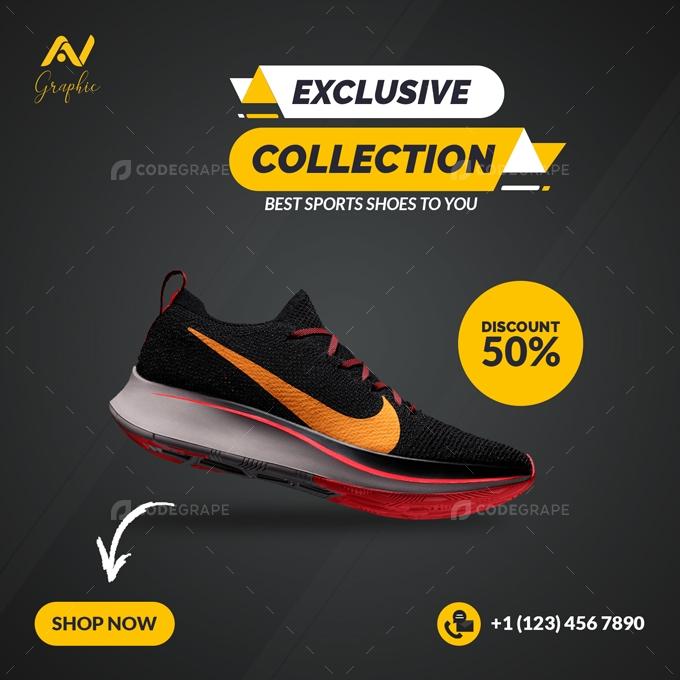 Sports Shoes Social Media Banner Template Design