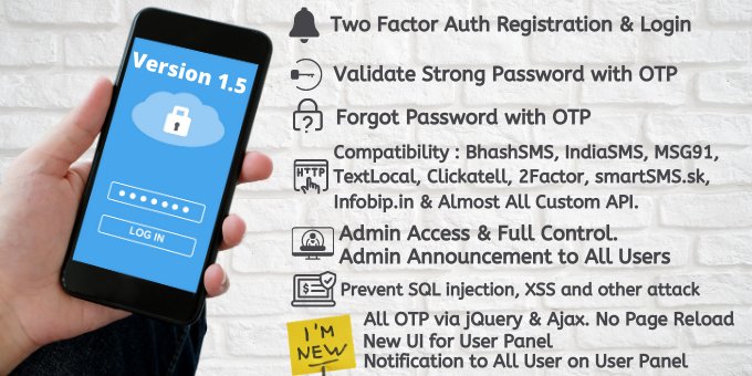 2FA Login SignUp via OTP with Many SMS Gateways