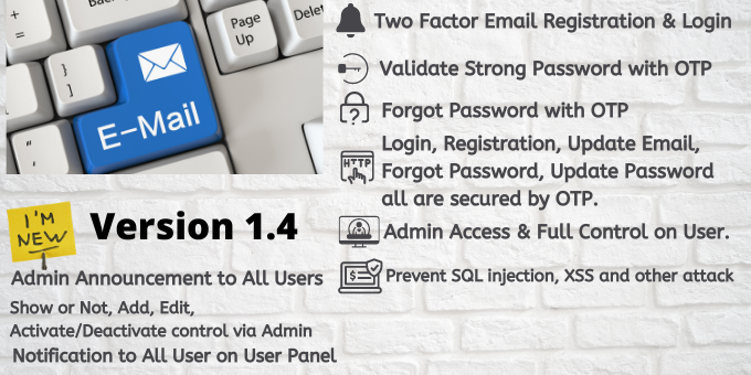 Twofactor Email Registration and Login with OTP with Admin Panel