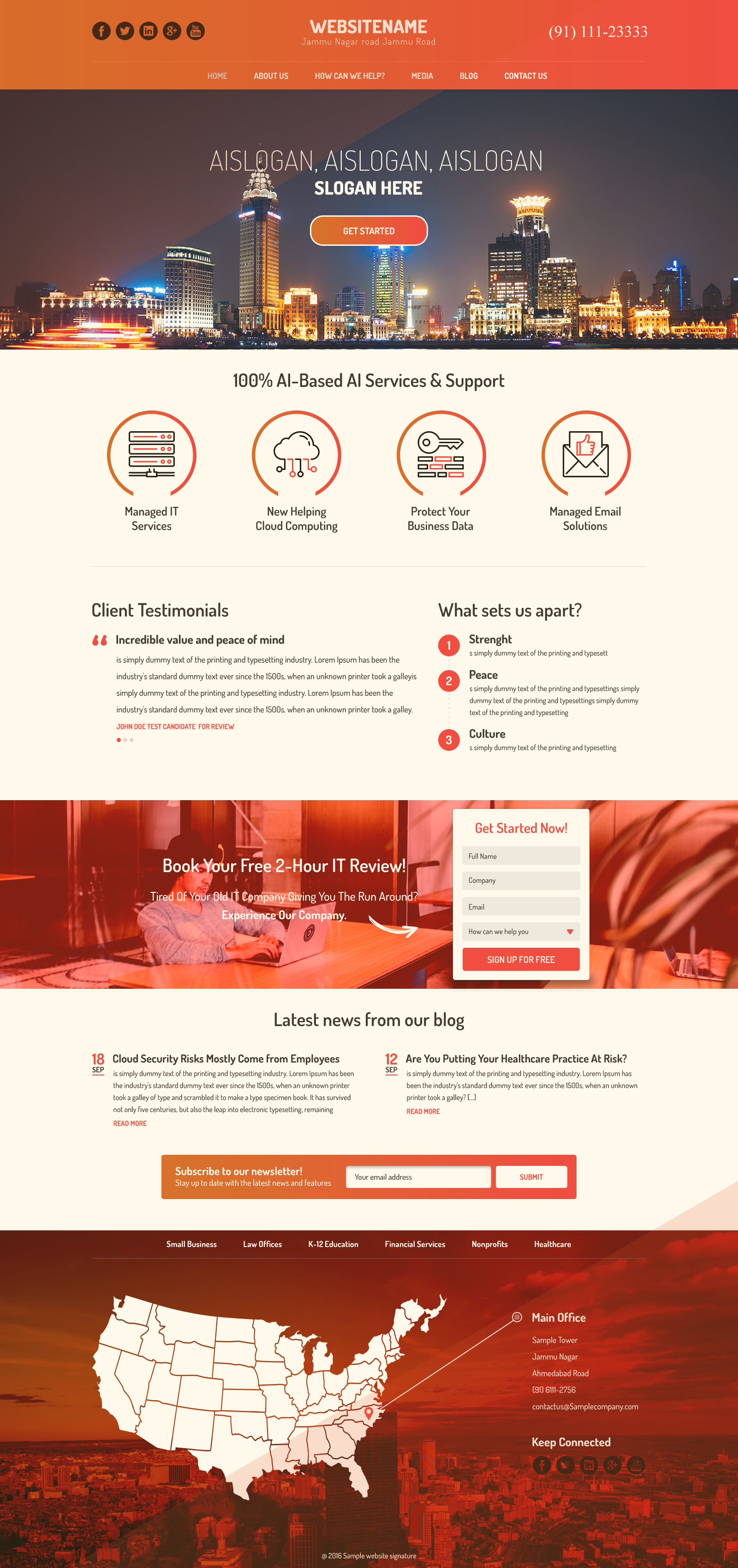Corporate One Page PSD Template