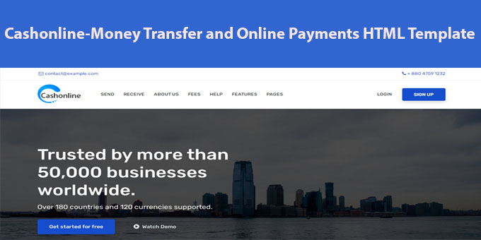 Cashonline - Online Money Transfer & Payments HTML Template