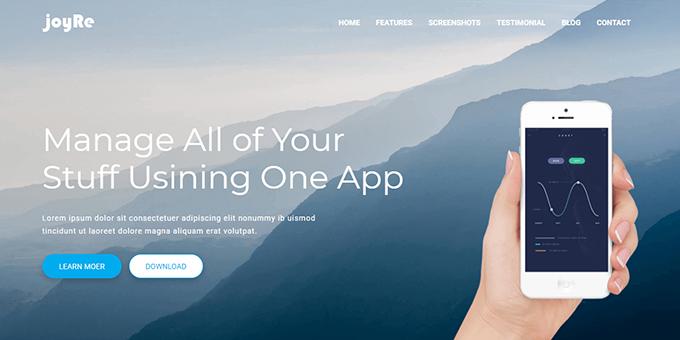JoyRe - Responsive App Landing Page