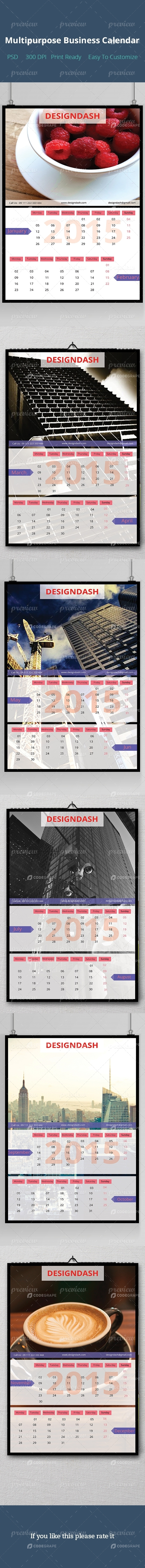 Multipurpose Business Calendar Design