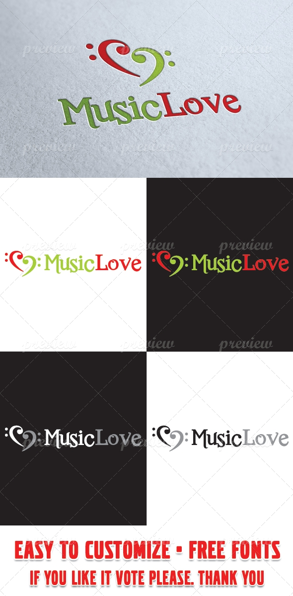 Music Love Logo Template