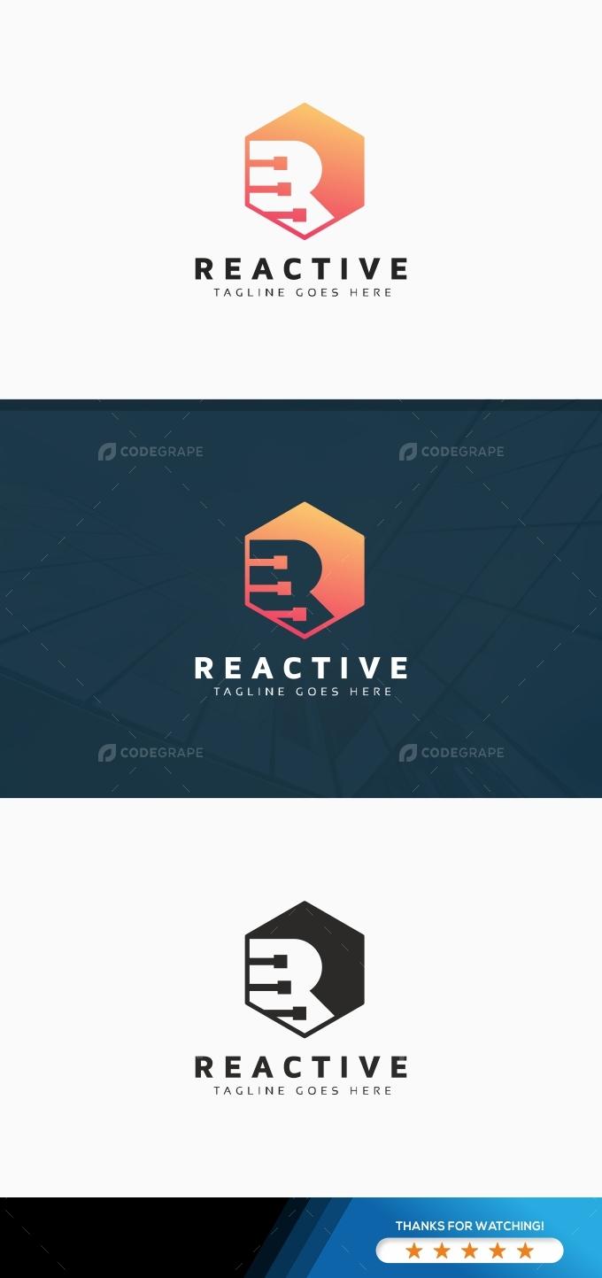 Reactive R Letter Hexagon Logo