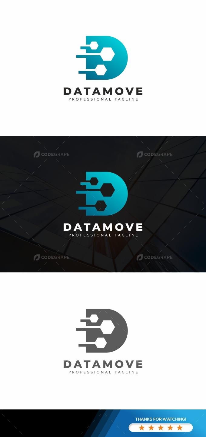 Data Move D Letter Logo