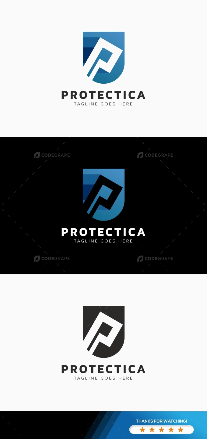 Protectica P Letter Logo