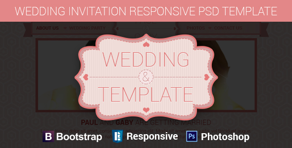 Wedding Invitation Responsive PSD Template