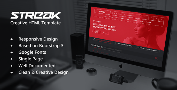 Streak One Page Responsive HTML Template