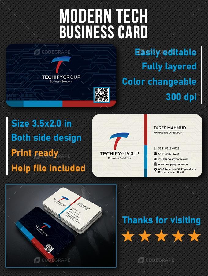 Modern Tech Business Card