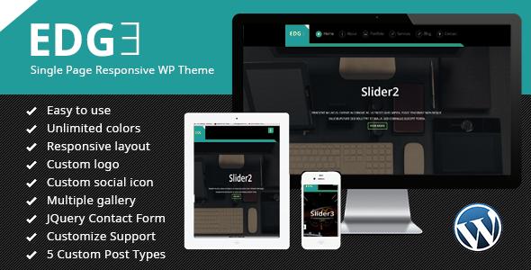 Edge Single Page Responsive Wordpress Theme